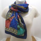 Vintage Ladies Scarf by Avon 100% Polyester made in Italy Dark Blue Gold