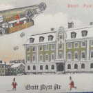 Antique Christmas Postcard Santa Claus Flying a Blimp in a Foreign Language