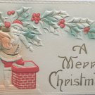 Antique Christmas Postcard Santa Claus Climbing Down Chimney Embossed Posted
