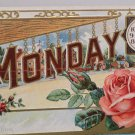 Antique Postcard Date Series Mechanical Roses Heavily Embossed Divided Unposted