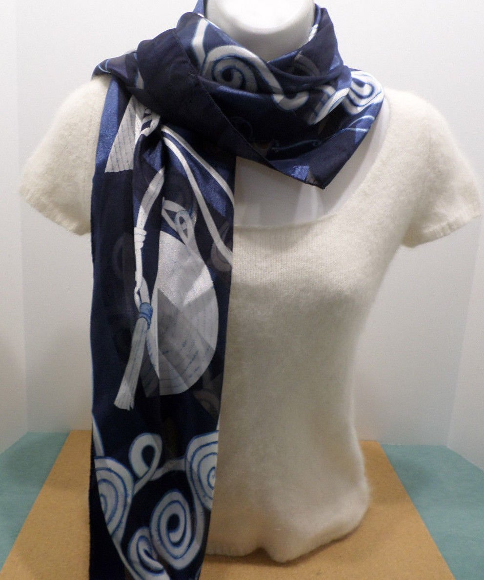 Womens Scarf Navy Blue and Silver Polyester made in Korea