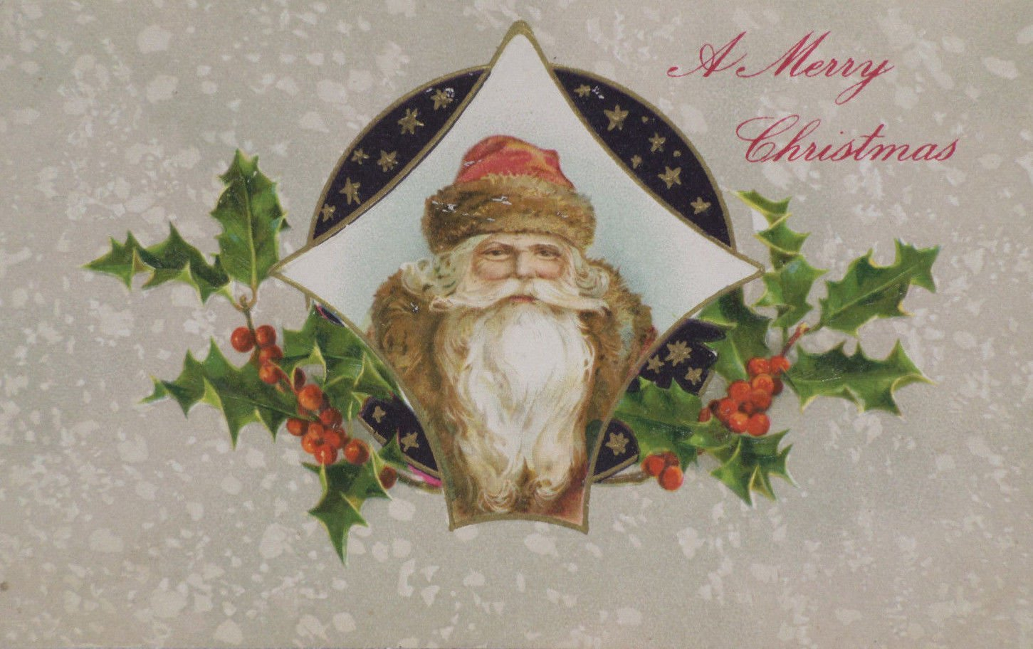 Antique Christmas Postcard Santa Claus Embossed Divided Posted Germany