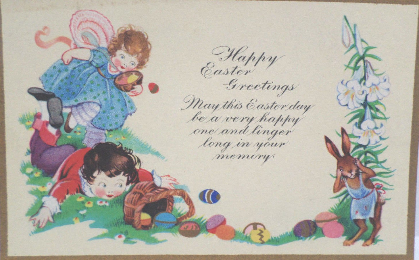 Antique Easter Postcard Humanized Rabbit Holds his Head as Children Spill Basket