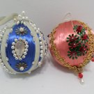 Christmas Tree Ornaments Silk Balls Hand Decorated with Beads and Sequins