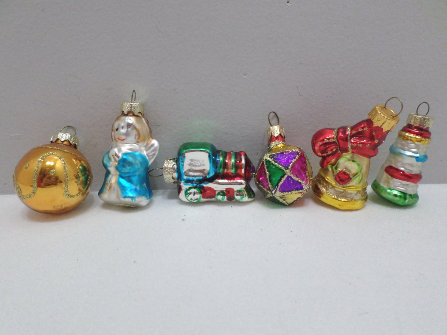 Christmas Tree Ornaments Six Miniature Glass Angel, Tree, Bell, Train and more