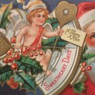 Antique Christmas Postcard Santa Claus Sweetheart Days unposted Embossed