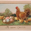 1912 Easter Postcard Hen Chicks Egg Germany Glossy Posted Divided