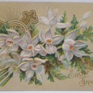 Antique Easter Postcard Floral Embossed Posted Divided