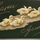 Antique Easter Postcard Ducklings Embossed Unposted Divided
