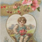Antique Valentine Postcard Embossed Divided and Unposted