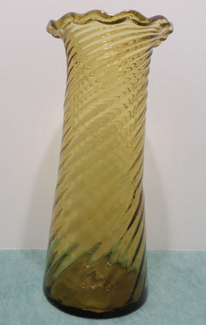 Antque Amber Glass Vase Swirl Pattern Pontil Ruffled Edge