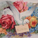 Antique Birthday Postcard Pink Roses White Dove Embossed Unposted Germany