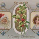 Antique Christmas Postcard Santa Claus Meeker Embossed Unposted Divided