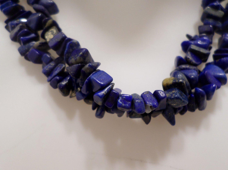 """Rope Necklace Polished Lapis Lazuli Gemstone Beads 35"""" Long"""