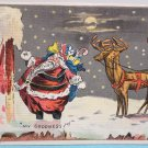 Antique Christmas Postcard Santa Claus on Roof with Reindeer Unposted Divided