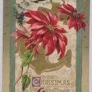 Antique Christmas Postcard Poinsettia Embossed Divided Unposted Germany