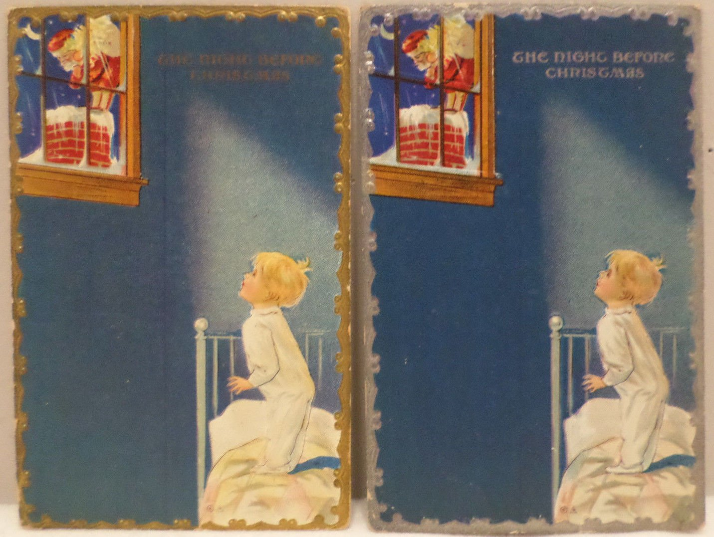 Antique Christmas postcards Santa Claus night before Christmas series 1910