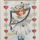 Antique Valentine Postcard Girl Playing Dress up Embossed Divided Unposted