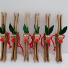 Six Reindeer Wooden Clothes Pins Christmas Tree Ornaments