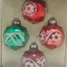 "Merry Brite Round Glass Christmas Tree Ornaments set of four 2 1/2"" diameter"
