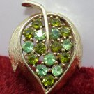 Brooch Gold Tone Metal Leaf with Green Rhinestones Costume Jewelry