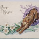 Antique Easter Postcard Rabbit Egg Embossed Posted Divided