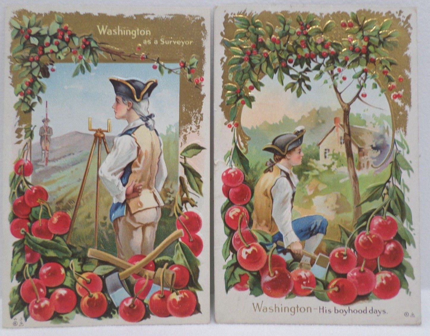 Two Antique Postcards President George Washington Posted Divided Embossed
