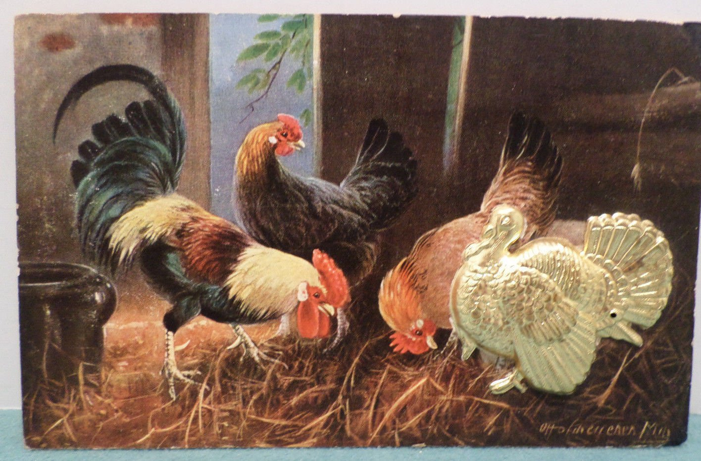 Antique Thanksgiving Postcard 3D Gold Tone Metal Turkey Germany