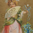 Antique 1908 Valentine Postcard Little Girl Embossed Divided and Posted