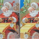 Antique Christmas Postcards Santa Claus Driving a Yellow Car Two pcs