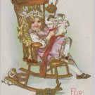 Antique Postcard Girl Sitting in Rocking Chair Conwell Embossed Posted Divided