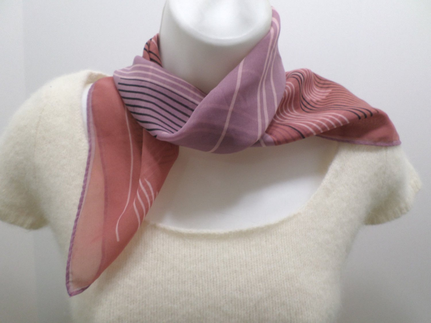 Womens Purple Scarf Wrap Vintage Polyester