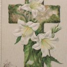 1912 Easter Postcard Cross Floral Winsch Embossed Unposted Divided