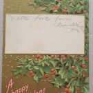 Antique 1914 New Year Postcard Holly Unposted Embossed Divided