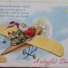 Christmas Postcard Santa Claus Delivering Toys in an Airplane Three Postcards