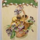 Antique Easter Postcard Baby Chicks in Basket Embossed Unposted Divided