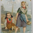 Antique 1908 Valentine Postcard 2 Girls Wading in Water Embossed Divided Posted