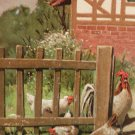 Antique Easter Postcard Rooster Hens Embossed Posted Divided