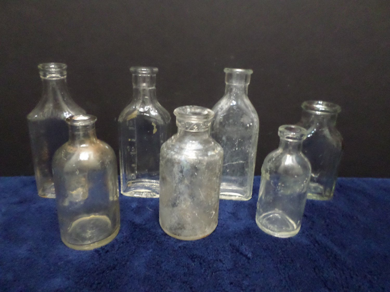 Antique Medicine Bottles Clear Glass Cork Top Lot of 7