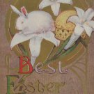 Antique Easter Postcard Rabbit Posted Divided