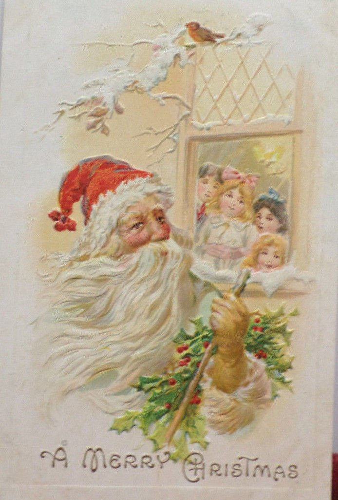 Antique Christmas Postcard Santa Claus Two Little Girls Looking out Window 1910