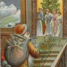 Christmas Postcard Santa Claus Walking Upstairs with Presents Embossed Unposted