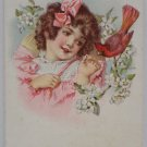 Antique Postcard Little Girl and Red Robin Posted and Divided
