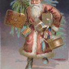 Antique Christmas Postcard Santa Claus Walking Carrying Tree & Presents Embossed