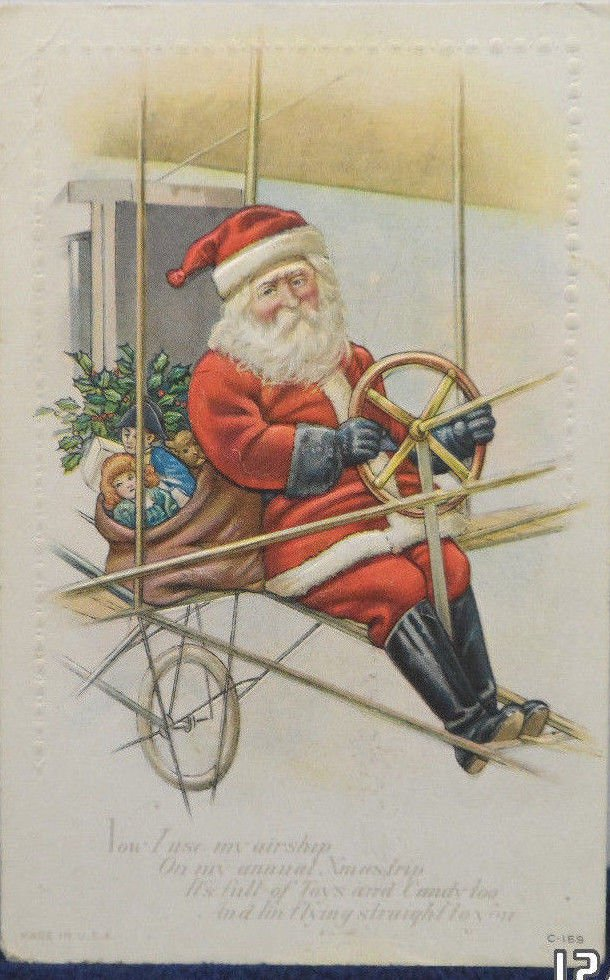 Antique Christmas Postcard Santa Claus Flying an Airplane Embossed Unposted