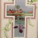 1910 Easter Postcard Scenic Cross Winsch Embossed Unposted Divided