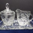 Sugar and Creamer Set W/Tray Early American Prescut Anchor Hocking Star of David