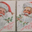 Antique Christmas Postcards Santa Claus Posted Divided Embossed