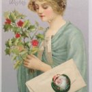 Antique 1901 Christmas Postcard Beautiful Woman Undivided Posted