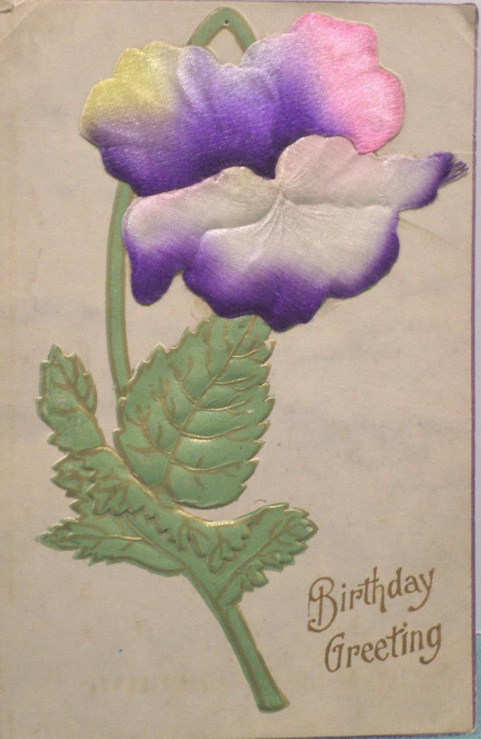 Antique Birthday Postcard Greetings with Silk Flowers Unposted Divided